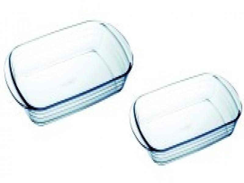 Set de 2 bandejas de cristal, vista 1